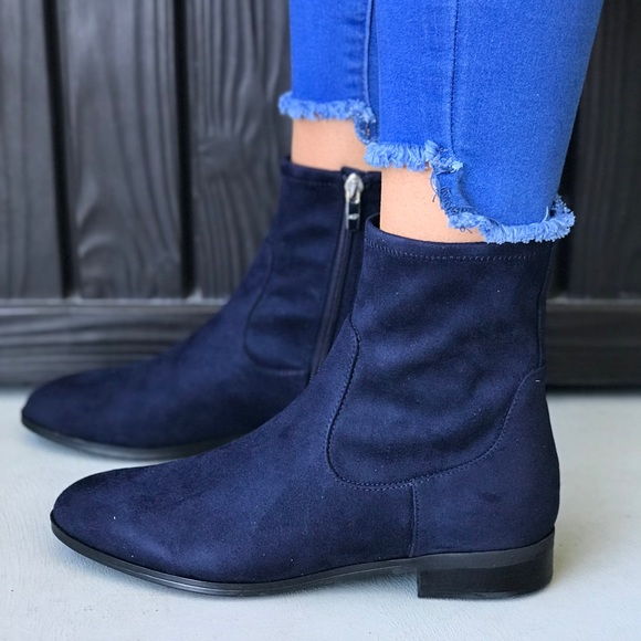 Navy Blue Fabric Flat Chelsea Ankle